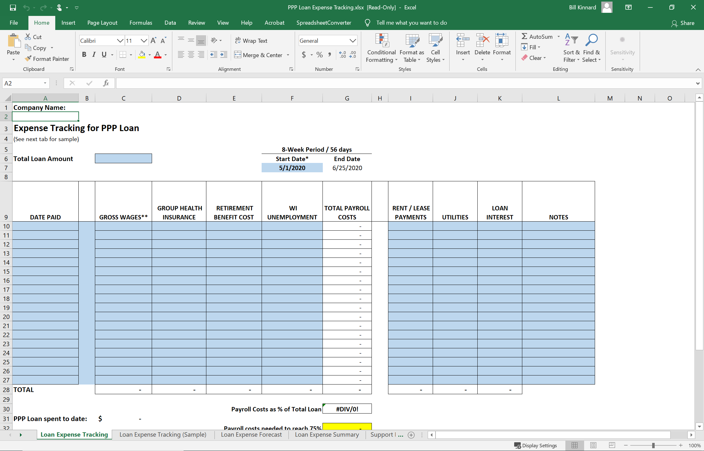 Expense Tracking Spreadsheet graphic
